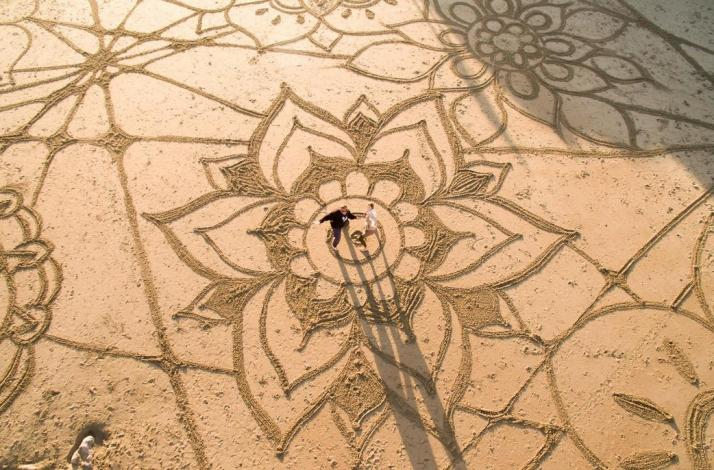 Beach Yoga Sand Drawing Classes In San Francisco California