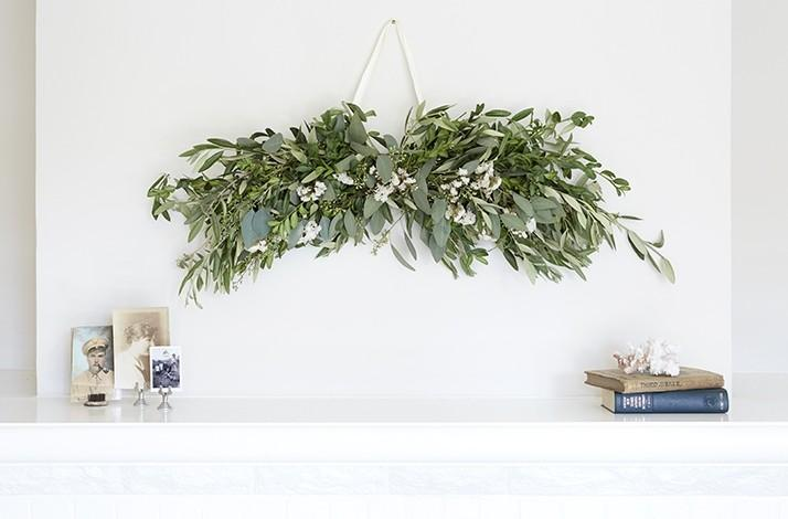 Winter Garland Of Olive Branches And White Flowers Designed By Michelle  Slatalla Of Gardenista