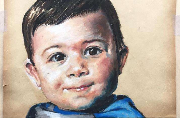 Commissioned Portrait in Oil Pastel Classic Style