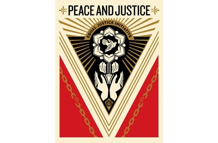 """Shepard Fairey Signed Print """"PEACE & JUSTICE SUMMIT"""" (1)"""
