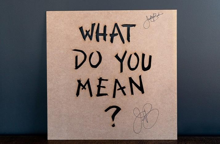 "Signed Justin Bieber ""What Do You Mean?"" Graffiti Stencil (1)"