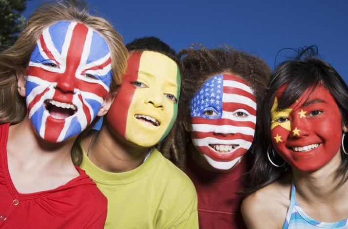 Children's Faces Painted with Flags of the World: In Rohnert Park, California