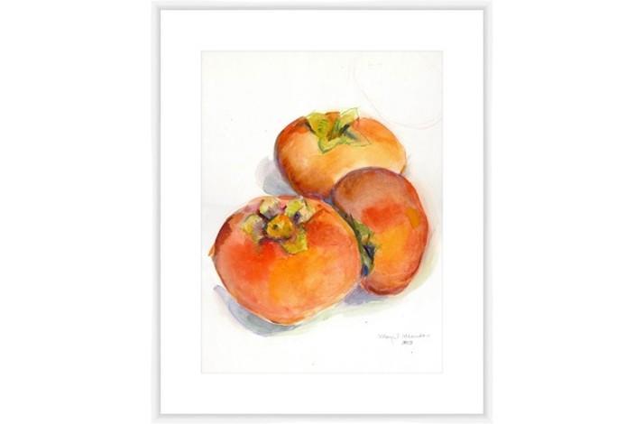 Autumn Persimmons Print by Margrit Mondavi