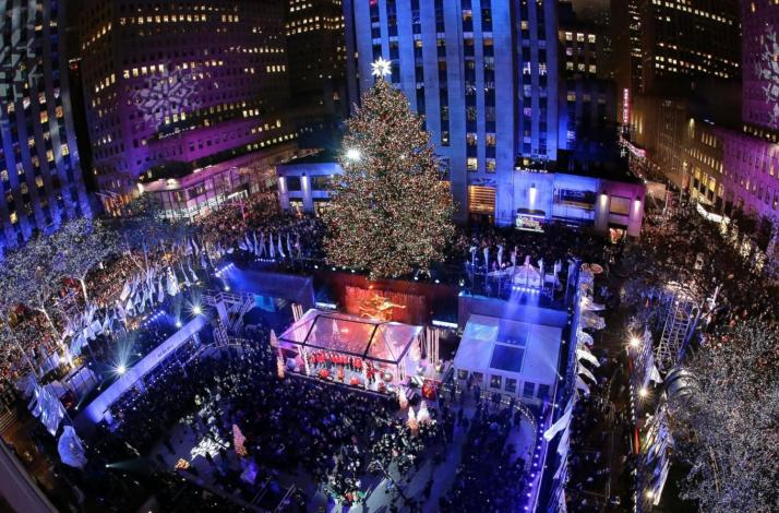 rockefeller center holiday tree lighting gala with private outdoor