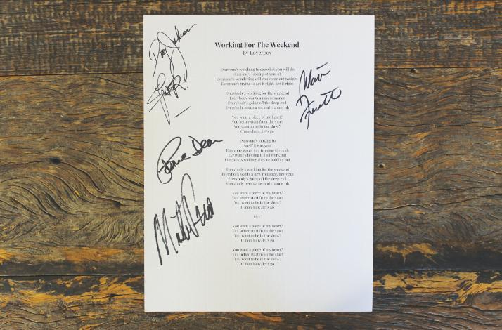 Loverboy ifonly working for the weekend lyric sheet autographed by 80s rock band loverboy stopboris Image collections