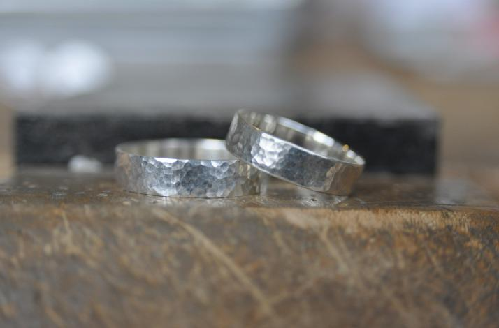 DIY His and Hers Textured Sterling Silver Rings with Artisan Metalsmith : In Hoboken, New Jersey (1)