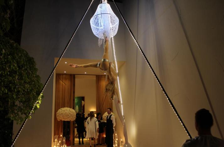 Cirque Mirage Aerial Chandelier Champagne Serving Performance: In Los Angeles, California