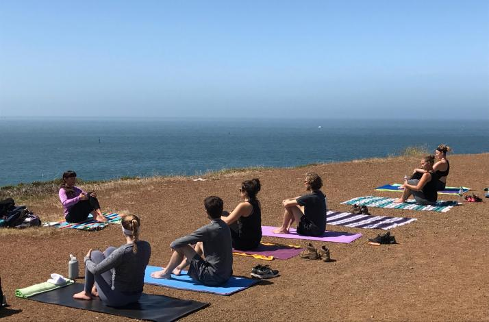 Yoga Overlooking the Pacific Ocean in Marin County: In Mill Valley, California