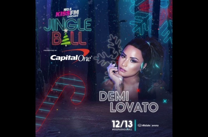 Meet Demi Lovato with Tickets for Four on December 13 to 103.5 KISS FM's Jingle Ball in Chicago: In Rosemont, Illinois